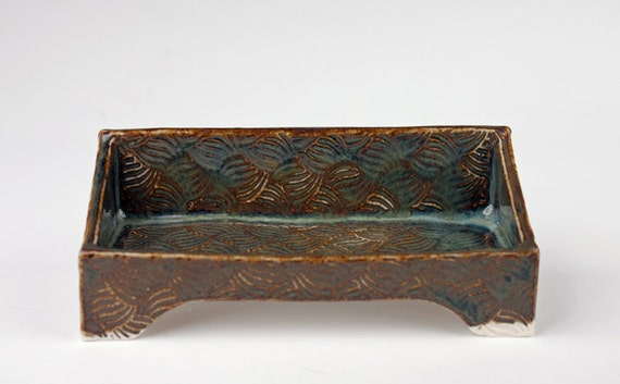 Handmade ceramic business card holder bluegreenbrown slab for Ceramic business card holder