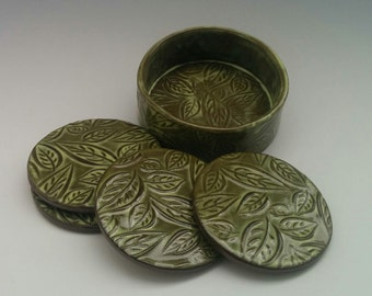 Coaster Set, Caddy and 4 Coasters,  Chartreuse Glaze Over Dark Textured Clay