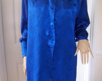 Louis Feraud Electric Blue Print Stunning Silky Feel Tunic Length Top 8/10