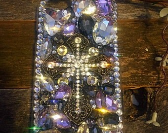 Christian cross blinged out cell phone case, iphone 6 cell phone case, christian bling, bling cell phone case