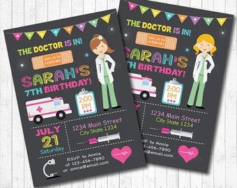 Doctor Birthday Invitation, Girl Doctor Invitation, Doctor Invite, Doctor birthday,  Doctor Party Invitation, chalkboard, printable