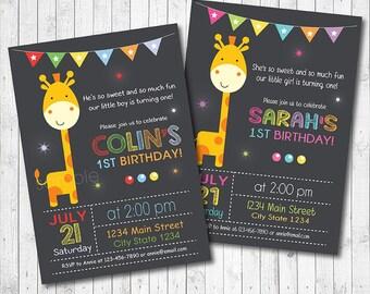 Giraffe Birthday Invitation, Giraffe Invite, Animals Invitation, Giraffe Party, Jungle Invite, Boys, Girls, 1st birthday invitation