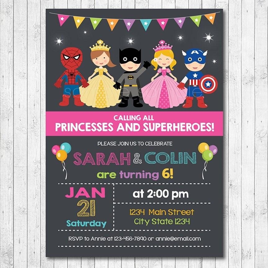 Superhero and Princess Invitation Superheroes and Princesses