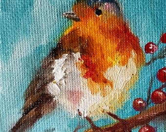 Original Oil Bird Painting, Small Christmas Ornament, Robin Bird, Holly Berries 2.5x2.5 Inch