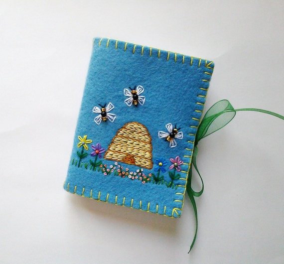 Book Cover Sewing Kits : Wool felt needle book sewing case embroidered flower