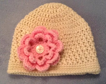 Adult Beanie With Removable Flower
