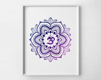 Yoga Print, Yoga Art, Mandala Print, Om Symbol, Mandala Art, Om Poster, Om Art, Yoga Studio Decor, Meditation Art, Mandala Poster, 0438