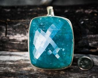 Aquamarine pendant ~ Large Rare Aquamarine Sterling Silver pendant ~ Statement Necklace ~ Aquamarine March birthstone - Aquamarine Necklace