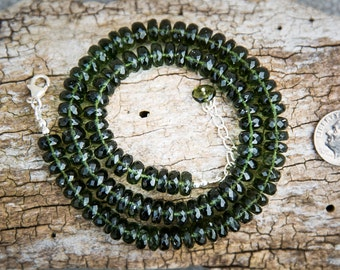 Moldavite Necklace - 238 carat Faceted Moldavite Strand - Moldavite 8-10mm Rondelle Necklace - Moldavite Necklace - Moldavite Bead necklace