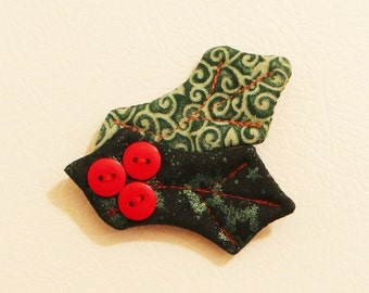 Holly Leaves Fabric Magnets