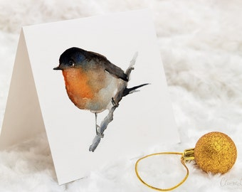 Watercolour Greeting Card - Hand Signed Robin Christmas Card from Original Painting - 148 x 148 mm - Holidays