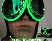 Light Up Goggle - Green Burn DJ Electro Man Lit Up Goggle Dancer Rave Eye Wear for Gigs Parties Festivals Cyborg Cyber Dance Costume