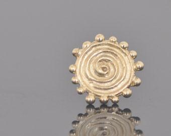 14k Gold Stud Earring , Gold Stud Earring , Spiral Gold Earring , Solid Gold Earring , 14k Post Earring , Handmade Solid Gold Earring