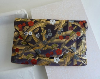 Vintage Japanese brocade clutch purse bag in purple red and gold in original box