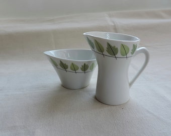 Rorstrand Sweden mid-century atomic sugar bowl and creamer asymmetrical eames style design pattern no. 622 Cissus