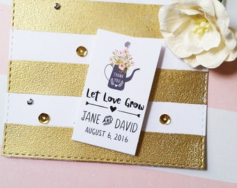 Let Love Grow Favor Tags, Thank You Wedding Tags, Custom Name Tags, Floral Favor Tags