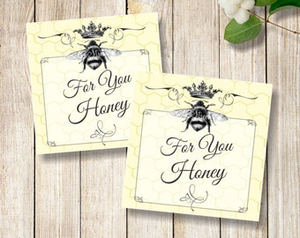 Bee Favor Tags, Printable Queen Bee Favor Tags, Bee Thank You Tags, Printable Bridal Shower Tags, Wedding Favor Tags, Instant Download