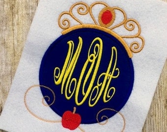 Snow White Applique Design - Princess Applique Design - Monogram Frame Embroidery Design - Applique Design - Embroidery Design