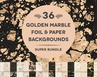 36 Golden Marble Foil & Paper Textured Digital Backgrounds