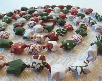 Holiday Paper Origami Star Garland with clear red beads #4