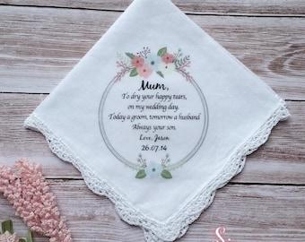 1 x Mother of the Groom Printed Wedding Handkerchief.  Wedding Keepsake, includes free gift envelope