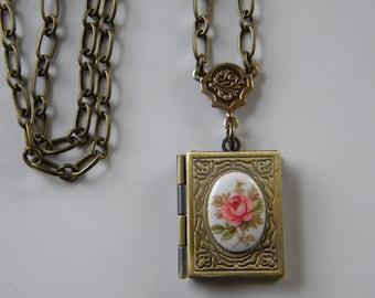 Pink Rose Limoge Cameo Book Locket Necklace  Secret Locket Romantic Rose Book Locket Necklace
