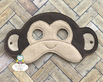 Monkey Mask, Kids Dress Up Mask, Monkey Costume Mask, Wool Blend Mask, Felt Monkey Mask, Jungle Party Favor, Monkey Mask