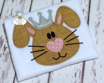 Princess Bunny Shirt or Bodysuit, Bunny Wearing Crown Shirt, Girl Bunny Shirt, Princess Bunny Shirt, Girl Easter Shirt, Girl Egg Hunt Shirt