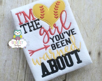 I'm the Girl You've Been Warned About Shirt, Baseball Season, Softball Season, I Love Baseball, Girls Softball, Kiss my Cleats