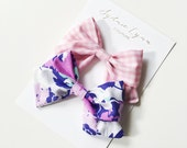 Summer floral and gingham bow clips