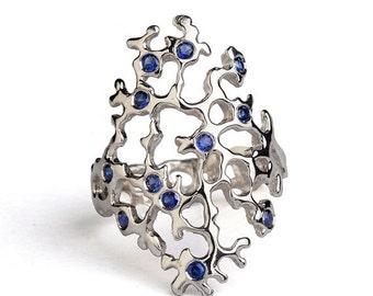 SALE 20% Off - SEA SPRAY Sleek Sterling Silver Sapphire Ring, Gemstone Ring, Birthstone Ring, Blue Sapphire Statement Ring, Unique Silver Ri