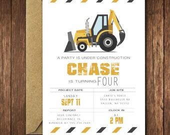 Construction Birthday Invitation Bulldozer