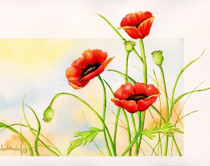 ORIGINAL WATERCOLOR - POPPIES; free shipping, 140 lb Arches, flowers, garden, wall art, Canadian art