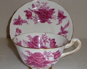 Royal Chelsea Pink Rose Gold Trim Cup and Saucer  Number 4078 Fine Bone China Made in England Free Standard Shipping in the U.S.