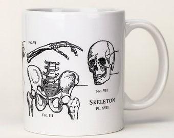 Skeleton Mug | Anatomical Ceramic Coffee Mug, Greys Anatomy, Nurse, Nursing, Science Biology Teacher Gift, Science Mug