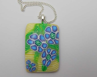 REDUCED PRICE - Polymer Clay Blue Floral Pendant Polymer Clay Necklace Polymer Clay Pendant