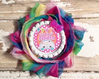 Tye dye bright 'happy camper' single shabby flower hair clip.