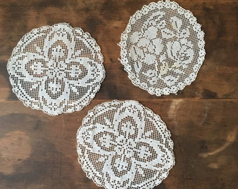 Set of Three Vintage Floral Crocheted Lace Doilies