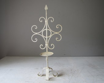Vintage Candle Stand, Wrought Iron metal Candle Holder