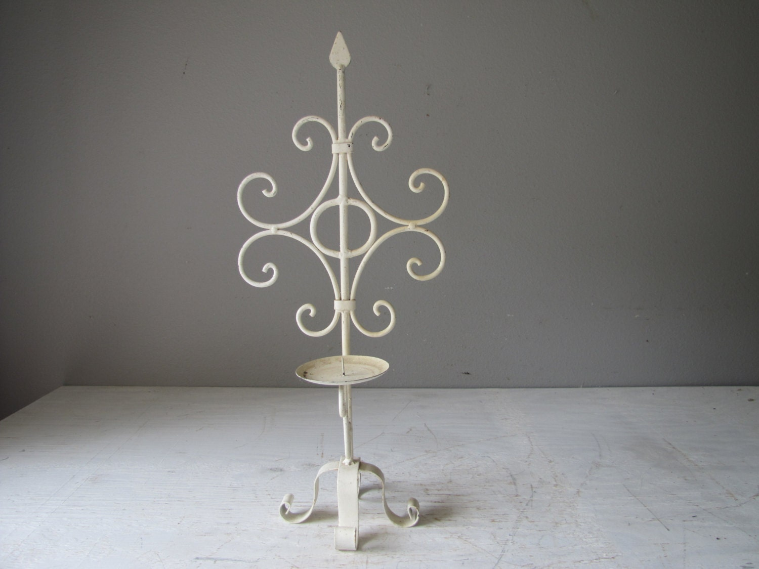 Iron Candle Stand Designs : Vintage candle stand wrought iron metal holder