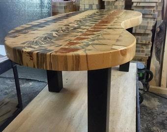 """Custom Butcher Block Coffee Table: 52""""L x 28""""W x 18""""H"""