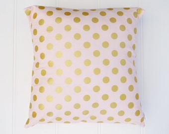 Pink & Gold Dot Cushion Cover