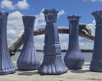 Vintage Vases, Painted Vases, Flower Vases, Shabby Chic Vases, Set of 5 Purple Vases, Shabby Chic Wedding Decor