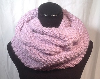 Lilac Wool and Alpaca Infinity Knit Scarf