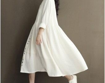 Pure cotton Japanese loose dress long-sleeved dress