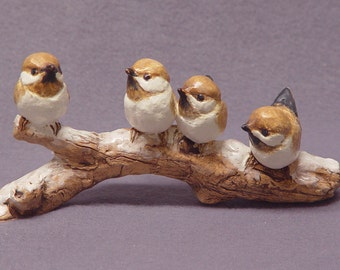 Handmade Ceramic Bird Family on a Branch -  Bird Sculpture, Bird Figurine, Snow, Ceramic Art