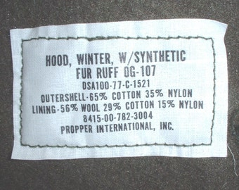 US Army M-65 extreme cold weather parka hood; Propper 1977, UNISSUED