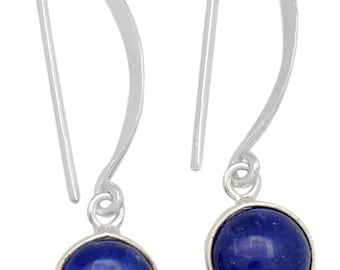 Lapis Gemstone Earrings Solid 925 Sterling Silver Jewelry IE19693