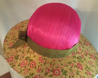 Pink and floral straw sunhat