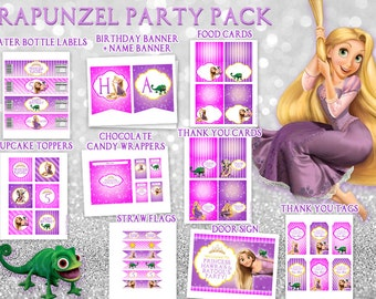 Rapunzel birthday party pack Tangled party pack Water bottle labels Cupcake toppers Food cards Thank you cards Chocolate wrappers
